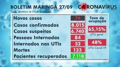 Maringá registra 74 novos casos e nenhuma morte por coronavírus - Relatório da secretaria municipal de saúde foi divulgado ontem.