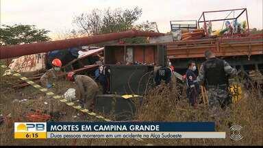 Acidente na Alça Sudoeste envolvendo caminhão deixa dois mortos, em Campina Grande - Uma terceira pessoa ficou ferida e foi socorrida e levada ao Hospital de Trauma