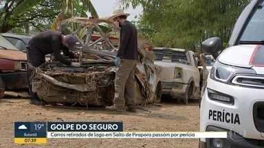 Polícia Científica começa perícia em carros retirados de lagoa em Salto do Pirapora - Veículos apareceram por causa da estiagem e suspeita é que estejam envolvidos em fraudes de seguro.