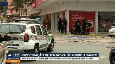 Polícia vai investigar se tentaram entrar pelo telhado em agência de Florianópolis - Polícia vai investigar se tentaram entrar pelo telhado em agência de Florianópolis