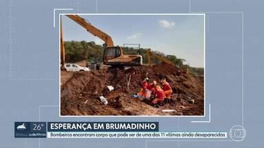 Bombeiros encontram mais um corpo em Brumadinho - Vítima ainda será identificada e estava na mesma região onde foi encontrada caminhonete no início deste mês. 11 pessoas ainda estão desaparecidas.