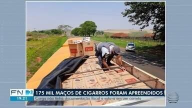 Carga de cigarros contrabandeados é apreendida em Estrela do Norte - Produtos estavam em uma carreta.