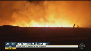 Incêndio atinge área de canavial em São Pedro, SP - Chamas foram registradas perto do aeroporto da cidade.