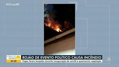 Rojões lançados em evento político causam incêndio ambiental na cidade de Mutuípe - O fogo atingiu uma área de vegetação durante a inauguração de um comitê de campanha.