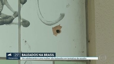 Adolescente e mulher são baleados em tentativa de assalto na Avenida Brasil - Um menino de 12 anos levou um tiro na cabeça quando estava num supermercado numa das entradas da favela Nova Holanda. Bandidos passaram atirando e uma das balas o atingiu, assim como uma mulher