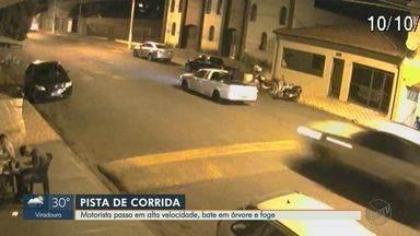 Motorista passa em alta velocidade, bate em árvore e foge em Barrinha, SP - Câmera de segurança registrou flagrante na Avenida Jamil Said.