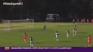 Inter goleia Audax por 9 a 0 no Campeonato Brasileiro Feminino - Time gaúcho está classificado para próxima fase.