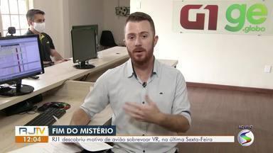 RJ1 descobriu motivo de avião sobrevoar Volta Redonda, na última sexta-feira - Moradores relataram ter visto aeronave sobrevoando cidades.