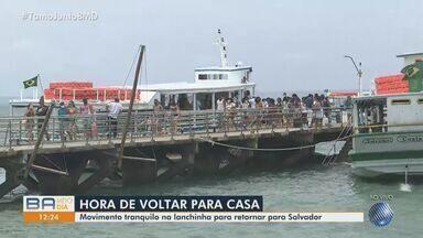Terminal de Mar Grande e de Bom Despacho começam a ter movimento de retorno do feriado - Muita gente escolheu passear e descansar na Ilha de Itaparica, onde as praias estão liberadas para banho.