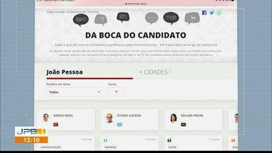 G1 lança plataforma 'Da Boca do Candidato' - Plataforma reúne frases ditas ao longo da campanha dos candidatos à Prefeitura de João Pessoa.
