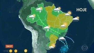 Confira a previsão do tempo para todo o Brasil nesta sexta (16) - Temporais no centro Sul de Goias, Minas de novo e Espirito Santo. A frente fria tá canalizando umidade da Amazônia. Rio de Janeiro tem previsão de muita nebulosidade.