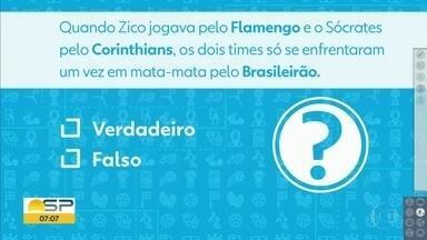Desafio do PVC pergunta sobre mata-mata entre Corinthians de Sócrates e Flamengo de Zico - É verdadeiro ou falso que os times só se enfrentaram uma vez em mata-mata pelo Brasileirão?