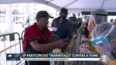 Voluntários se unem para fazer um marmitaço - Eles vão distribuir centenas de marmitas para quem não tem o que comer em casa.