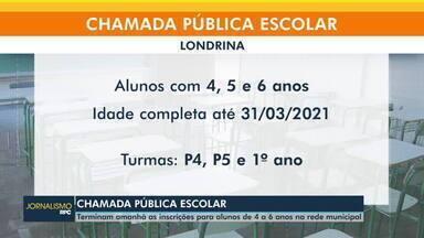 Termina nesta segunda-feira (19) a chamada pública escolar em Londrina - Inscrições para alunos de 4 a 6 anos na rede municipal terminam nesta segunda-feira (19).