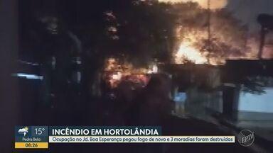 Incêndio atinge moradias de uma ocupação no Jardim Boa Esperança, em Hortolândia - Fogo aconteceu na noite de segunda-feira (19), esta é a segunda vez no mês que um incêndio ocorre no local. Três casas de uma ocupação em uma área de preservação ambiental foram destruídas.