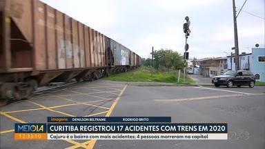 Segundo Corpo de Bombeiros, Curitiba registrou 17 acidentes envolvendo trens em 2020 - Quatro pessoas morreram neste ano.