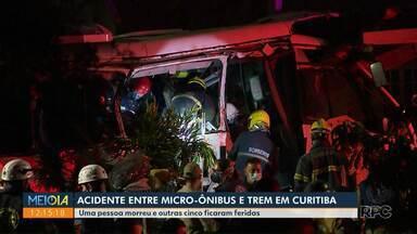 Acidente entre micro-ônibus e trem mata uma pessoa em Curitiba - Colisão também deixou cinco pessoas feridas.