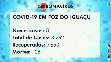Foz do Iguaçu registra 81 novos casos de Covid-19 em 24 horas - Total é de 8.262 casos na cidade e 126 mortes pela doença.