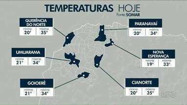 Temperaturas vão cair até o fim de semana - Umuarama vai registrar máxima de 33ºC na sexta. Hoje, a previsão é de 34 graus.