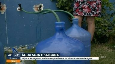 Itajaí e Navegantes continuam fornecendo água suja e salgada nas torneiras - Itajaí e Navegantes continuam fornecendo água suja e salgada nas torneiras