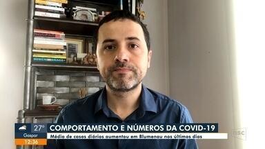 Média de casos diários de Covid-19 aumenta em Blumenau e expõe comportamento das pessoas - Média de casos diários de Covid-19 aumenta em Blumenau e expõe comportamento das pessoas