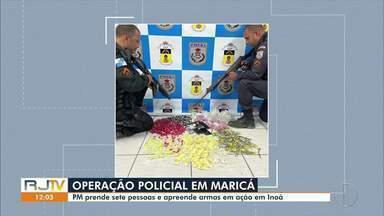 Operação da PM prende sete pessoas em Inoã, em Maricá, no RJ - Ação também apreendeu armas.