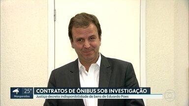 Justiça decreta indisponibilidade de bens de Eduardo Paes - A justiça decretou a indisponibilidade de bens de Eduardo Paes e de consórcios de empresas de transporte numa ação que investiga fraudes nos contratos de ônibus na cidade do Rio.