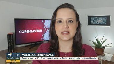 Governador de São Paulo e presidente da Anvisa se encontram nesta quarta (21) em Brasília - Reunião acontece um dia após Ministério da Saúde anunciar que irá comprar a vacina contra a Covid-19 desenvolvida pelo Instituto Butantan.