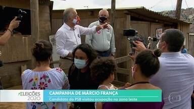 Márcio França fez campanha no extremo leste da capital - O candidato do PSB visitou uma ocupação.