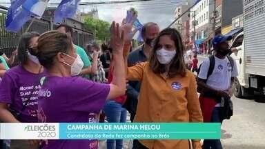 Marina Helou fez campanha nas ruas do Brás - A candidata da Rede disse que vai estimular a economia na região.