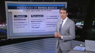 Câmara Municipal aprova projeto de lei que cria renda básica emergencial - A renda básica emergencial vai pagar um benefício de R$100,00 a maiores de 18 anos por três meses.