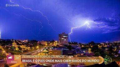 Brasil é o pais onde mais caem raios no mundo - Cientista Osmar Pinto Junior fala sobre a temporada de maior incidência de raios e dá dicas para a população se proteger. Casa de Fran em Natal foi destruída por um raio