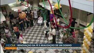 Menina ganha Primeira Comunhão no hospital enquanto espera transplante de coração - Gabriela, de 10 anos, é de Ponta Grossa e sonhava com esse momento.