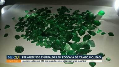 PRF apreende esmeraldas em rodovia de Campo Mourão - Motorista levava 148 gramas de esmeraldas em uma mochila.
