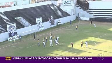 Freipaulistano perde para o Central e se complica ainda mais na Série D - Partida foi em Caruaru. Lucão marcou o gol da vitória do Central. Touro do Agreste não vence há seis partidas.