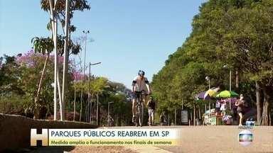 São Paulo decide reabrir parques aos finais de semana e ampliar horário de funcionamento - O governo de São Paulo decidiu reabrir os parques aos finais de semana e ampliar o horário de funcionamento durante a semana.