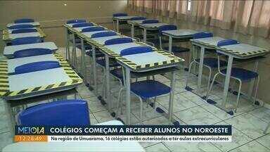 Aulas extracurriculares são retomadas nos núcleos regionais de Umuarama e Cianorte - Na região de Umuarama 16 colégios estão autorizados. Na região de Cianorte são 5 colégios.