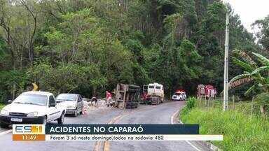 Três acidentes são registrados na rodovia ES-482 durante o final de semana - Assista.