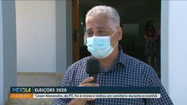 Confira a agenda do candidato Cesar Alexandre à prefeitura de Paranavaí - Candidato foi à missa e visitou um cemitério durante a manhã.