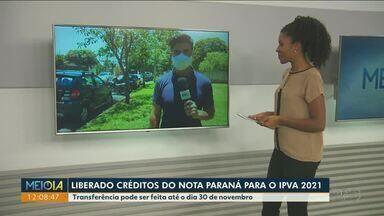 Créditos do Nota Paraná podem ser transferidos para o pagamento do IPVA 2021 - Transferência pode ser feita pelo site ou aplicativo Nota Paraná até o final desse mês.