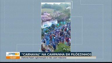 """Eleitores fazem aglomeração e não usam máscaras em Pilõezinhos - Evento de campanha parecia """"carnaval""""."""