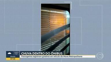 Passageiros registram goteiras em ônibus do Move Metropolitano - Coletivo que faz a linha 415 (Terminal São Benedito/Cidade Industrial) foi invadido pela água da chuva.
