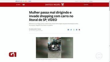 Motorista passa mal e invade shopping no Guarujá - Acidente ocorreu na Av. Santos Dumont.