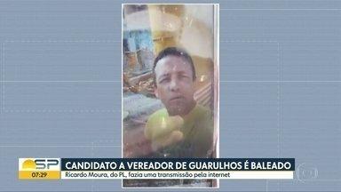 Candidato a vereador que foi baleado durante live segue internado em Guarulhos - Transmissão mostrou o momento em que Ricardo Moura, do PL, leva 2 tiros. Polícia está investigando a autoria do crime.