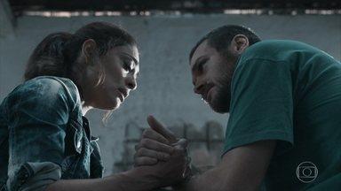 Bibi visita Rubinho na prisão e se desespera - O rapaz diz à esposa que foi jurado de morte