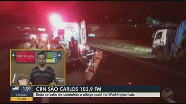 Roda se solta de caminhão e atinge casal na SP-310 em São Carlos - Eduardo Sotto Mayor, da CBN São Carlos, tem mais informações.