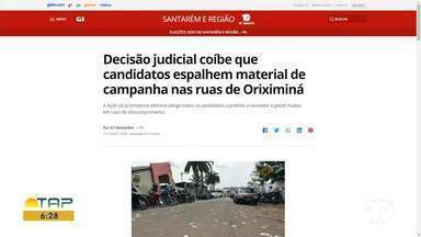 Decisão judicial sobre materiais de campanha é destaque no G1 Santarém - Confira as informações no portal.