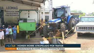 Trabalhador morre após ser atropelado por trator em Santa Terezinha de Itaipu - Acidente foi hoje de manhã.