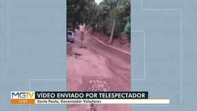 VC no MG: esgoto a céu aberto no bairro Santa Paula - SAAE informou que uma equipe de saneamento está trabalhando no local.