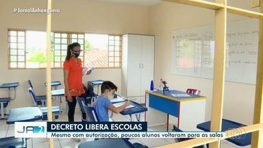 Prefeitura libera volta às aulas presenciais em Goiânia - Mesmo com autorização, poucos alunos voltaram para as salas.